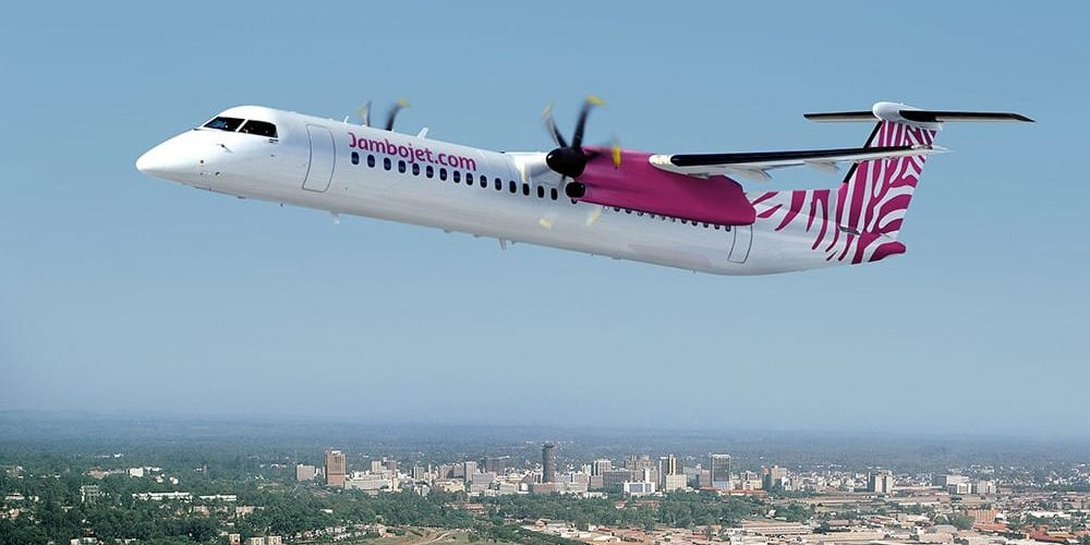 jambojet q400 Bombardier 1000x500 - How To Get From Mombasa Airport To Diani Beach